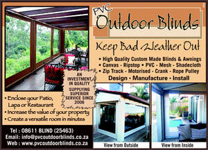 PVC Outdoor Blinds, Durban
